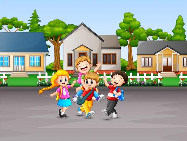 Karikatur von den kindern, die zur schule gehen Premium Vektoren