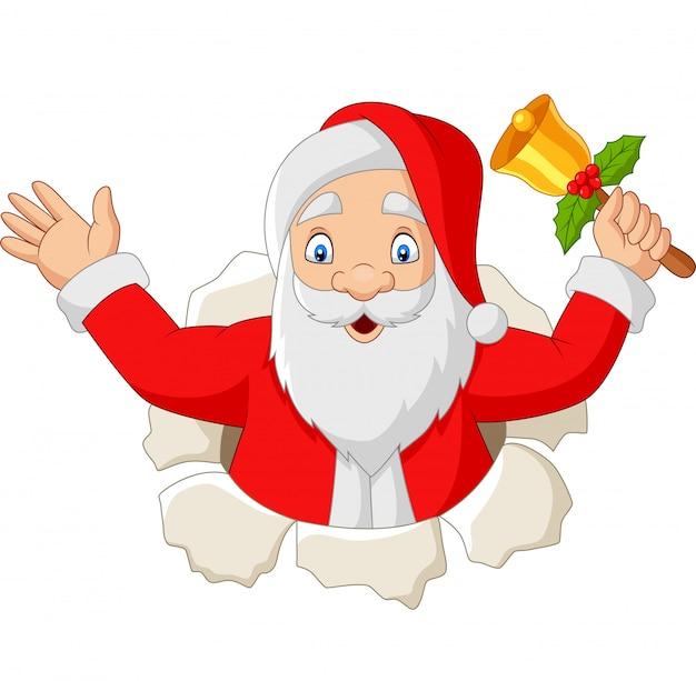 Karikatur weihnachtsmann, der eine glocke hält Premium Vektoren