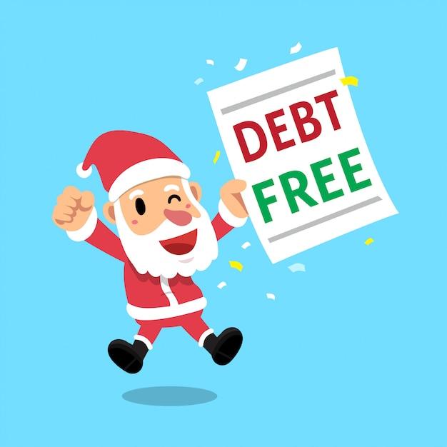 Karikatur weihnachtsmann der frohen weihnachten mit schuldenfreiem buchstaben Premium Vektoren