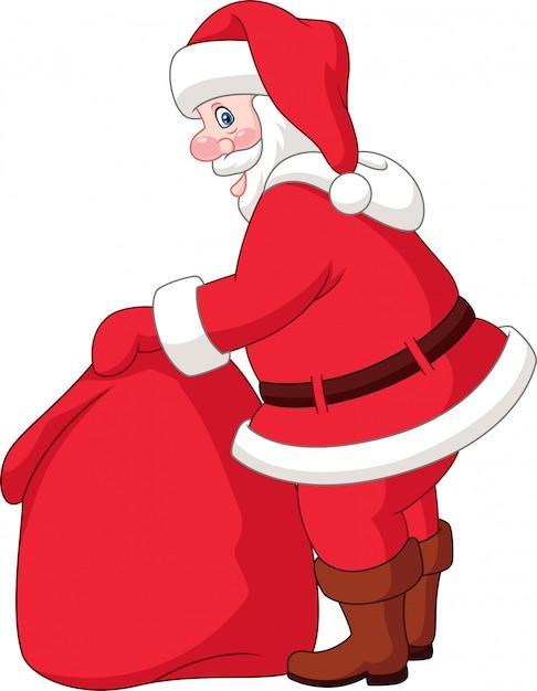Karikatur weihnachtsmann mit der tasche der geschenke Premium Vektoren