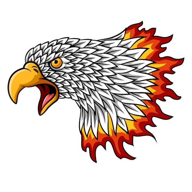 Karikaturadlerkopfmaskottchen mit flammen Premium Vektoren