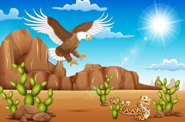 Karikaturadlervogel und -schlange, die in der wüste leben Premium Vektoren