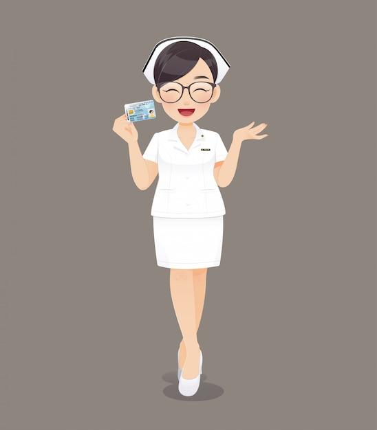 Karikaturärztin oder -krankenschwester, die braune gläser im weißen einheitlichen haltenen ausweis, lächelndes weibliches krankenpflegepersonal tragen Premium Vektoren