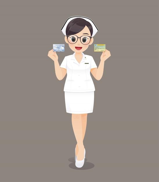 Karikaturärztin oder -krankenschwester, die braune gläser in der weißen uniform tragen Premium Vektoren