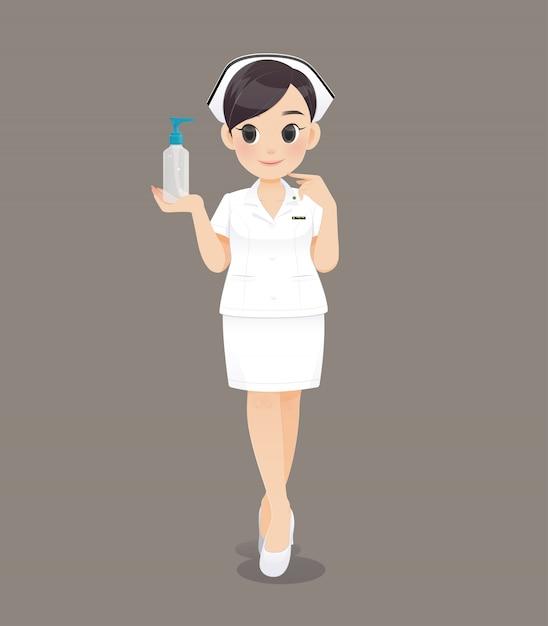 Karikaturärztin oder -krankenschwester in der weißen uniform, lächelndes weibliches krankenpflegepersonal Premium Vektoren