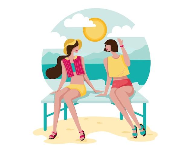 Karikaturart glückliche junge frau, die am strand sitzt und klatscht Kostenlosen Vektoren