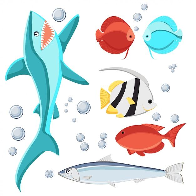 Karikaturartfisch- und -wasserblasen stellten für kinder ein. Premium Vektoren