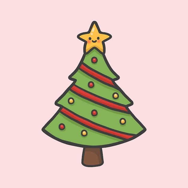 Karikaturartvektor des weihnachtsbaums und des sterns hand gezeichneter Premium Vektoren
