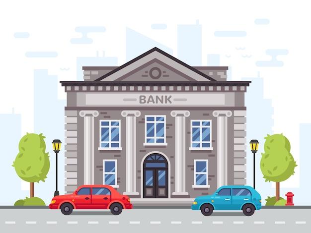 Karikaturbank- oder regierungsgebäude, gericht mit römischen spalten. gelddarlehenshaus im stadtbild mit autos auf straßenvektorillustration Premium Vektoren