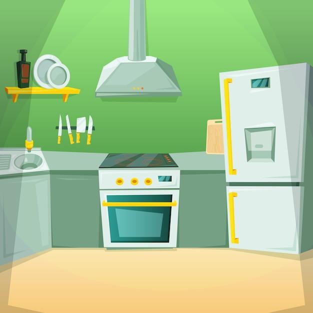 Karikaturbilder des kücheninnenraums mit verschiedenen möbelstücken Premium Vektoren