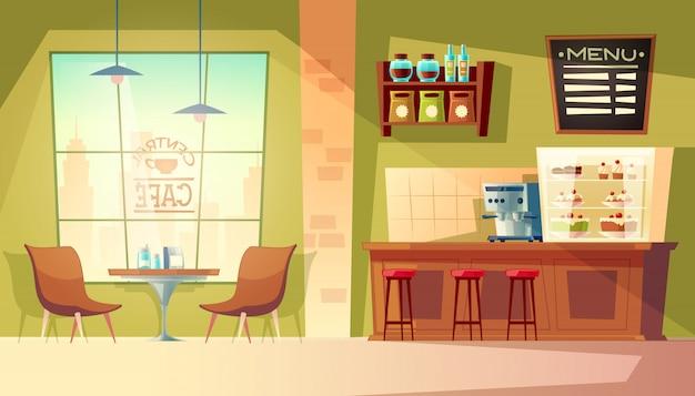 Karikaturcafé mit fenster - gemütliches interieur mit kaffeemaschine, tisch. Kostenlosen Vektoren