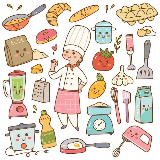 Karikaturchef mit dem kochen von ausrüstung kawaii gekritzel Premium Vektoren