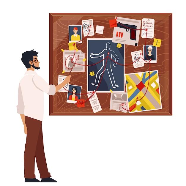 Karikaturdetektivmann, der verbrechensbrett mit mordermittlungselementen, beweisen und verdächtigen fotografien betrachtet, die durch roten faden verbunden sind. illustration Premium Vektoren