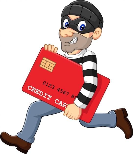 Karikaturdieb in einer maske, die eine bankkreditkarte stiehlt und läuft Premium Vektoren