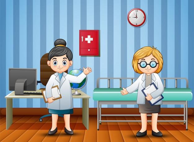 Karikaturdoktor und -krankenschwester im krankenhaus Premium Vektoren
