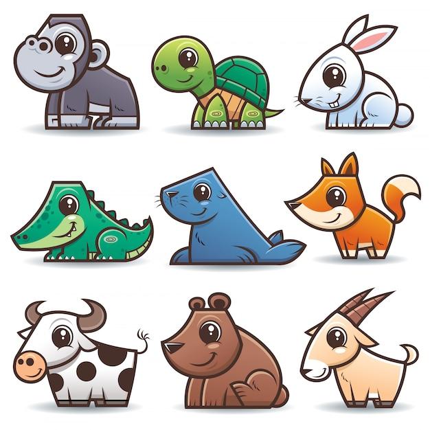 Karikaturen der wilden tiere eingestellt Premium Vektoren