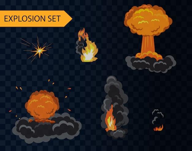 Karikaturexplosionsanimationseffekt eingestellt mit rauch. Premium Vektoren