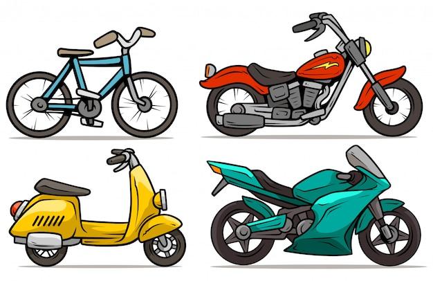 Karikaturfahrrad, roller und motorradvektorsatz Premium Vektoren