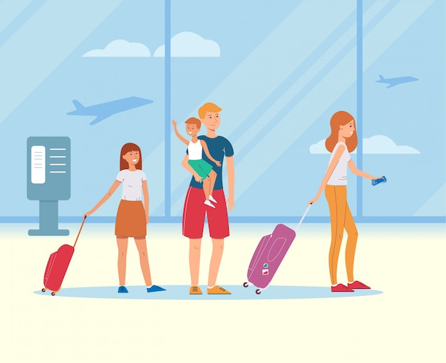 Karikaturfamilie mit reisetaschen im flughafenterminal - glückliche eltern und kinder auf sommerferienreise mit gepäckkoffern und -karten, flache vektorillustration Premium Vektoren