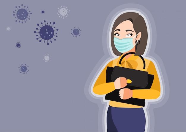 Karikaturfigur mit der jungen frau, die medizinische maske auf gesicht trägt, um krankheit zu verhindern. coronavirus. illustration in einem flachen stil Premium Vektoren
