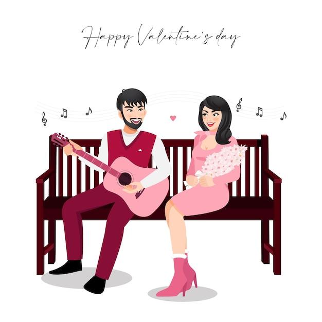 Karikaturfigur mit einem paar, das auf weinleseholzstuhl auf weißem hintergrund sitzt. valentinstag festival. Premium Vektoren