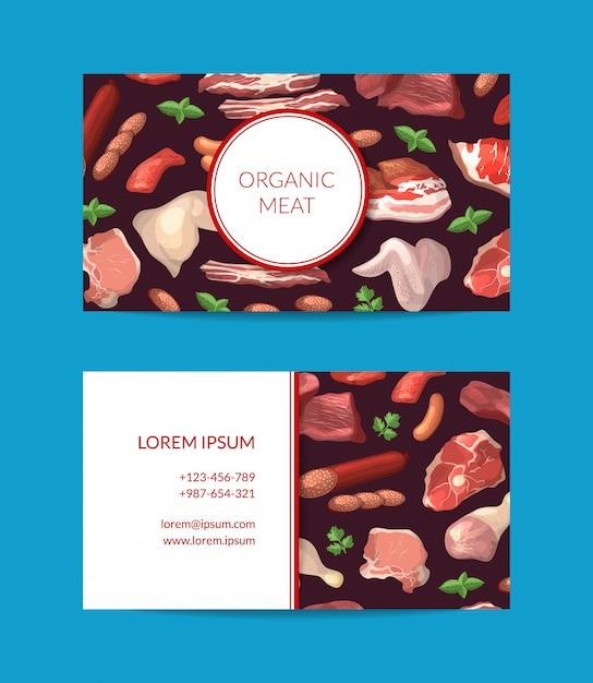 Karikaturfleisch bessert visitenkarteschablone für metzgerei oder fleischfirmenillustration aus Premium Vektoren