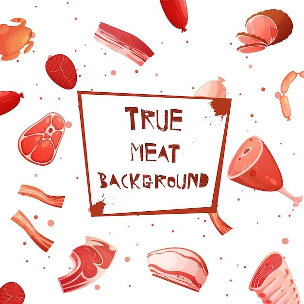 Karikaturfleisch mit wahrem fleischhintergrund der aufschrift auf plakette in der mittelvektorillustration Kostenlosen Vektoren