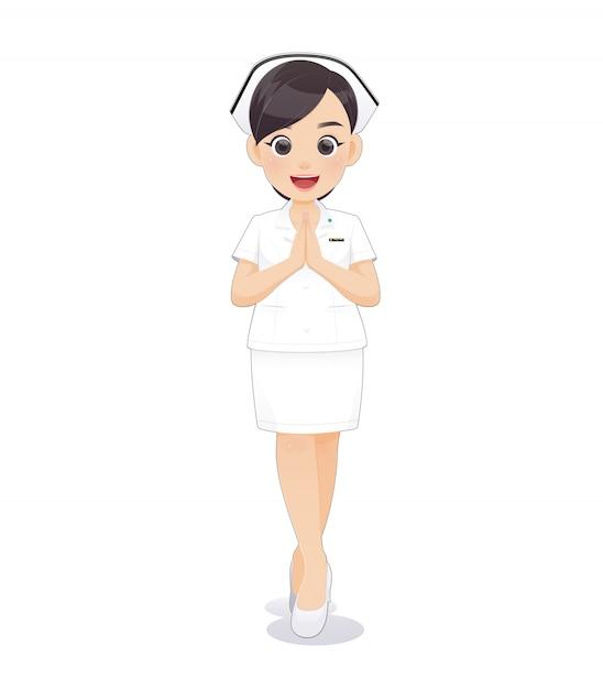 Karikaturfrauendoktor oder -krankenschwester in der weißen uniform, die ein klemmbrett hält, Premium Vektoren