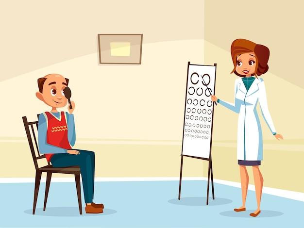 Karikaturfrauendoktor ophtalmologist, der Sehtest zum erwachsenen ...