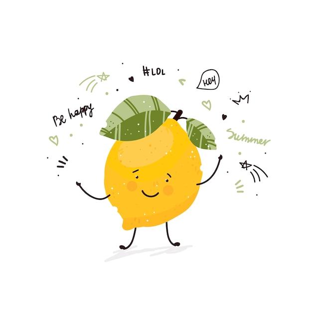 Karikaturgekritzelskizzen-illustrationssommer der zitronenfrucht netter Kostenlosen Vektoren