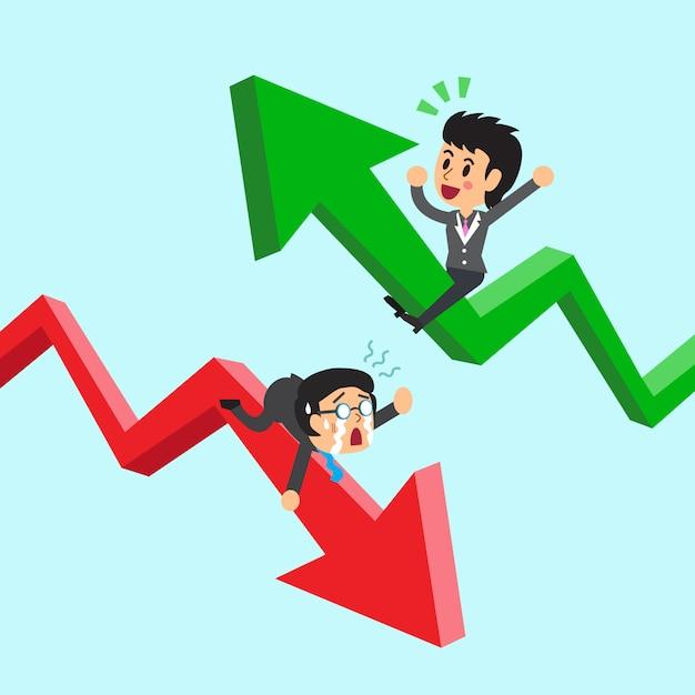 Karikaturgeschäftsleute auf grünem und rotem pfeil Premium Vektoren