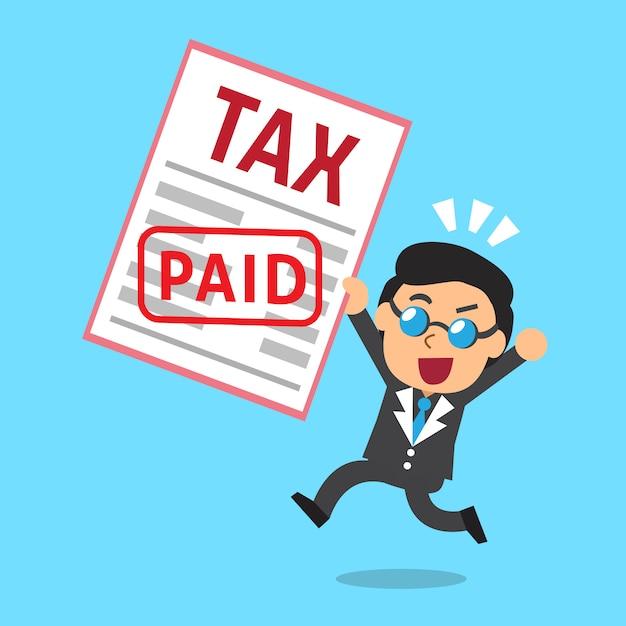 Karikaturgeschäftsmann zahlte steuer Premium Vektoren