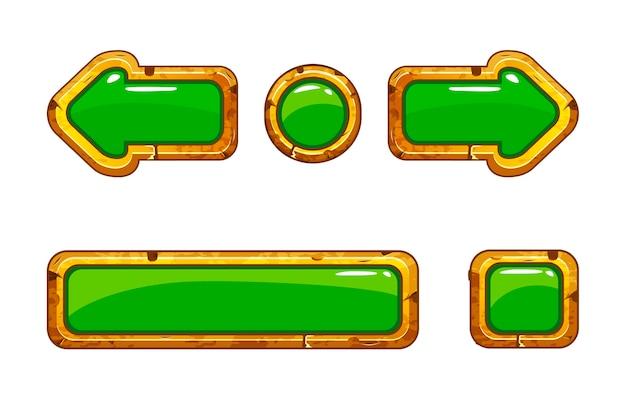 Karikaturgold alte grüne knöpfe für spiel oder webdesign Premium Vektoren