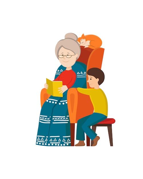 Karikaturgroßmutter, die märchenbuch zum jungenkind liest. Premium Vektoren