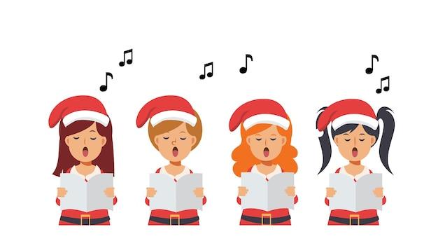 Karikaturgruppe von mädchen, die weihnachtslieder singen. fröhliche weihnachten. Premium Vektoren