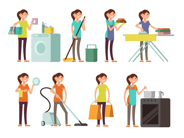 Karikaturhausfrau im hausarbeittätigkeits-vektorsatz. glückliche frau, die haushalt durchführt Premium Vektoren