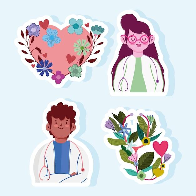 Karikaturherzblumen der doktorfrau und des mannes stellten illustration ein Premium Vektoren
