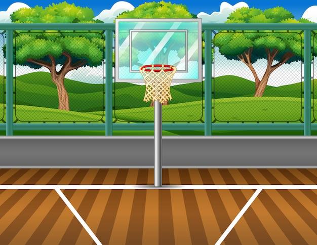 Karikaturhintergrund des basketballplatzes für spiel Premium Vektoren