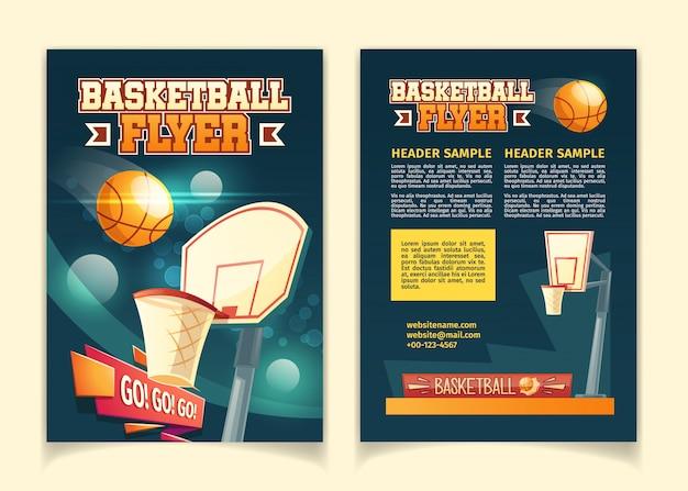Karikaturhintergrund mit den fliegern, zum auf basketballspiel einzuladen. Kostenlosen Vektoren