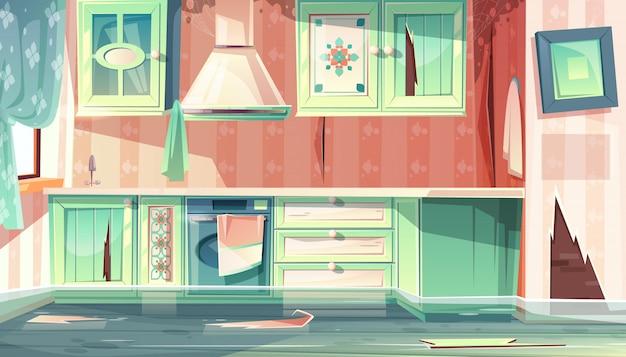 Karikaturhintergrund mit provence-raum, die flut in der schmutzigen küche. Kostenlosen Vektoren