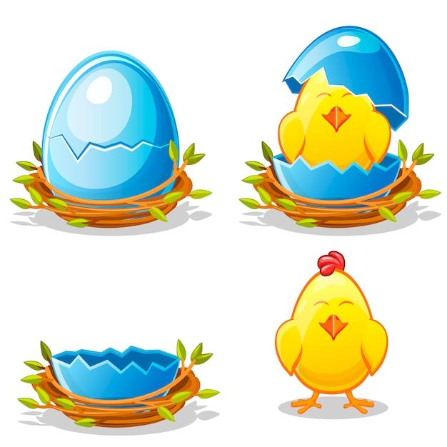 Karikaturhuhn und blaues ei in einem nest Premium Vektoren