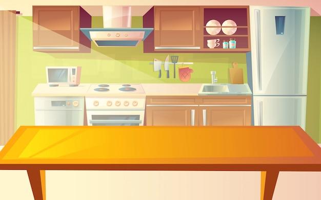 Karikaturillustration der gemütlichen modernen küche mit abendtisch und haushaltsgeräten Kostenlosen Vektoren