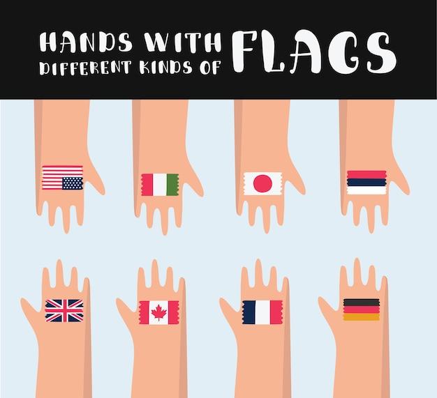 Karikaturillustration der gesetzten hände mit gezeichneter verschiedener flagge Premium Vektoren