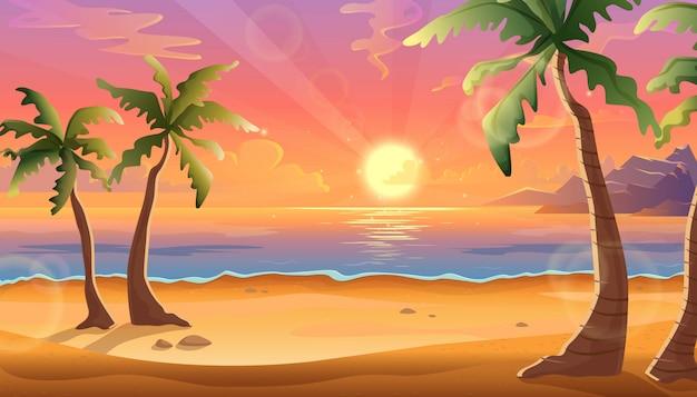 Karikaturillustration der ozeanlandschaft im sonnenuntergang oder im sonnenaufgang mit schönem rosa himmel und sonnenreflexion über dem wasser. schöne natur mit palmen und strand. Premium Vektoren