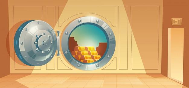 Karikaturillustration des banktresors, sichere tür des metallischen eisens. Kostenlosen Vektoren