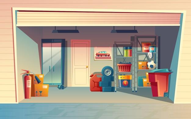 Karikaturillustration des garageninnenraums, lagerraum mit selbstausrüstung, reifen, kanister Kostenlosen Vektoren
