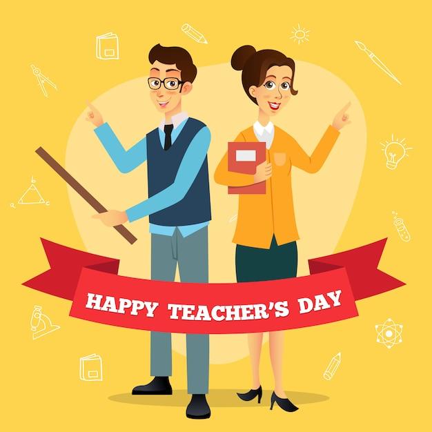 Karikaturillustration des glücklichen lehrertags. geeignet für grußkarte, poster und banner Premium Vektoren