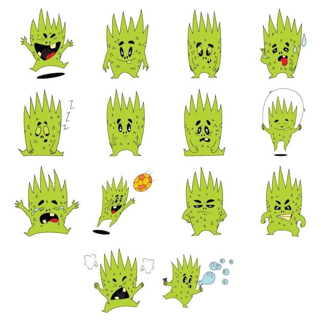 Karikaturillustration des grünen monstersatzes. Premium Vektoren