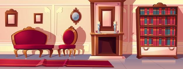 Karikaturillustration des luxuswohnzimmers mit kamin Kostenlosen Vektoren