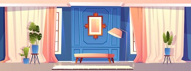 Karikaturillustration des luxuswohnzimmers Kostenlosen Vektoren